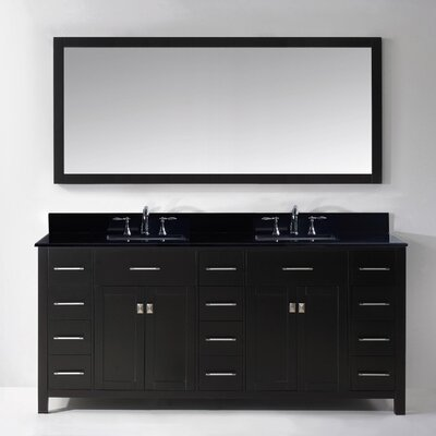 Stoughton 72 Double Bathroom Vanity Set with Black Galaxy Top and Mirror Base Finish: Espresso, Sink Shape: Round