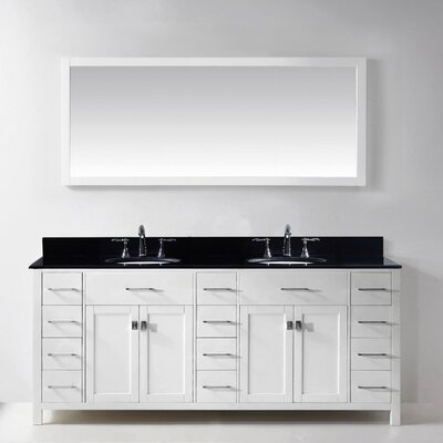 Stoughton 78.8 Double Bathroom Vanity Set with Carrara White Top and Mirror Base Finish: White, Sink Shape: Square