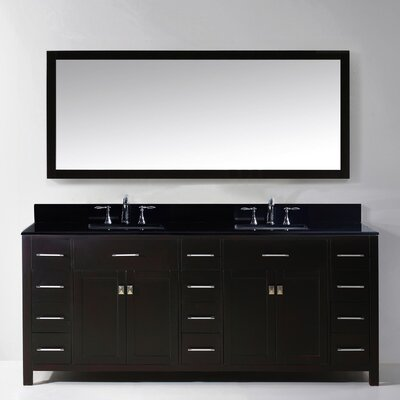 Espen Modern 78.8 Double Bathroom Vanity Set with Carrara Black Top and Mirror Base Finish: Espresso, Sink Shape: Round