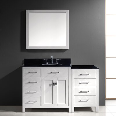 Caroline Parkway 57 Single Bathroom Vanity Set with Black Galaxy Top and Mirror Base Finish: White, Sink Shape: Square, Faucet Finish: No Faucet