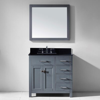 Stoughton 36.9 Single Bathroom Vanity Set with Black Galaxy Top and Mirror Base Finish: Gray