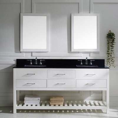 Rishaan 73 Double Bathroom Vanity Set with Black Galaxy Top and Mirror Base Finish: White, Sink Shape: Square