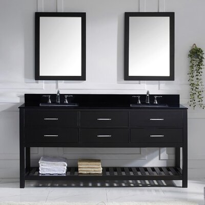 Caroline Estate 73 Double Bathroom Vanity Set with Black Galaxy Top and Mirror Base Finish: Espresso, Sink Shape: Square