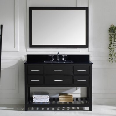 Caroline Estate 49 Single Bathroom Vanity Set with Black Galaxy Top and Mirror Base Finish: Espresso, Sink Shape: Round
