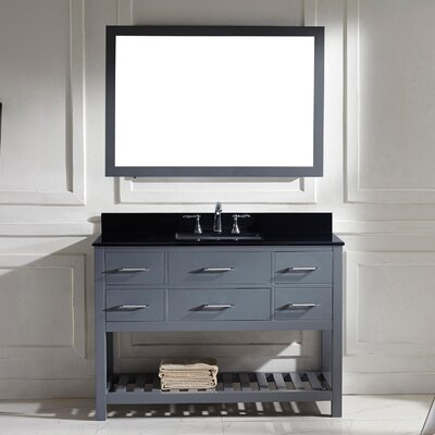 Rishaan 49 Single Bathroom Vanity Set with Black Galaxy Top and Mirror Base Finish: Gray, Sink Shape: Round