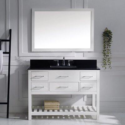 Caroline Estate 49 Single Bathroom Vanity Set with Black Galaxy Top and Mirror Base Finish: White, Sink Shape: Round