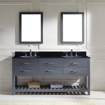 Rishaan 73 Double Bathroom Vanity Set with Black Galaxy Top and Mirror Base Finish: Gray, Sink Shape: Round