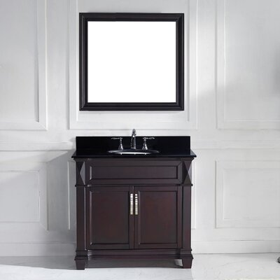 Victoria 37 Single Bathroom Vanity Set with Black Galaxy Top and Mirror Base Finish: Espresso, Sink Shape: Round