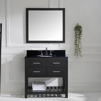Rishaan 37 Single Bathroom Vanity Set with Black Galaxy Top and Mirror Base Finish: Espresso, Sink Shape: Square