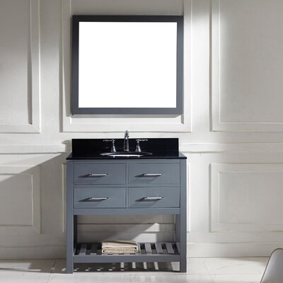 Caroline Estate 37 Single Bathroom Vanity Set with Black Galaxy Top and Mirror Base Finish: Gray, Sink Shape: Square