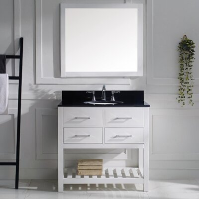 Caroline Estate 37 Single Bathroom Vanity Set with Black Galaxy Top and Mirror Base Finish: White, Sink Shape: Round