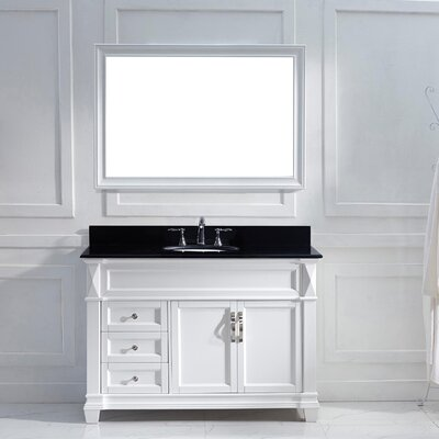 Victoria 49 Single Bathroom Vanity Set with Black Galaxy Top and Mirror Base Finish: White, Sink Shape: Round