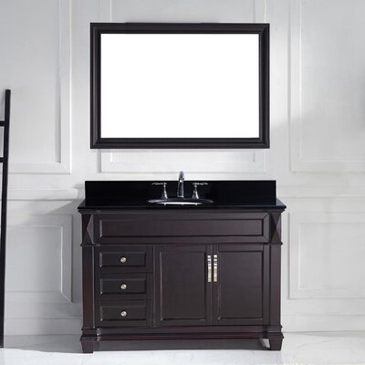 Victoria 49 Single Bathroom Vanity Set with Black Galaxy Top and Mirror Sink Shape: Round, Base Finish: Gray