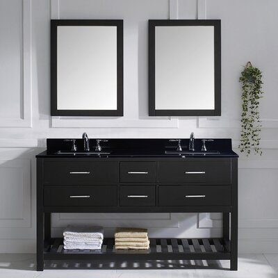 Caroline Estate 61 Double Bathroom Vanity Set with Black Galaxy Top and Mirror Base Finish: Espresso, Sink Shape: Square