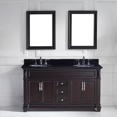 Victoria 61 Double Bathroom Vanity Set with Black Galaxy Top and Mirror Base Finish: Espresso, Sink Shape: Square