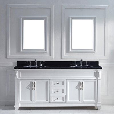 Victoria 72 Double Bathroom Vanity Set with Black Galaxy Top and Mirror Base Finish: White, Sink Shape: Square