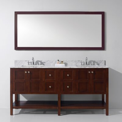 Templeton 70.9 Double Bathroom Vanity Set with White Carrara Top and Mirror Base Finish: Cherry, Sink Shape: Square, Faucet Finish: No Faucet