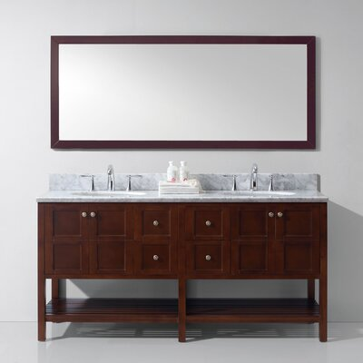 Bob 70.9 Double Bathroom Vanity Set with White Carrara Top and Mirror Base Finish: Cherry, Sink Shape: Round, Faucet Finish: No Faucet