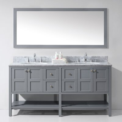 Bob 70.9 Double Bathroom Vanity Set with White Carrara Top and Mirror Base Finish: Gray, Sink Shape: Round, Faucet Finish: No Faucet