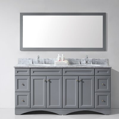 Rosado 72 Double Bathroom Vanity Set with Mirror Base Finish: Gray, Sink Shape: Round