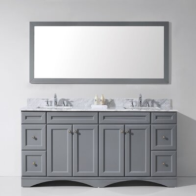 Rosado 72 Double Bathroom Vanity Set with Mirror Base Finish: Gray, Sink Shape: Square