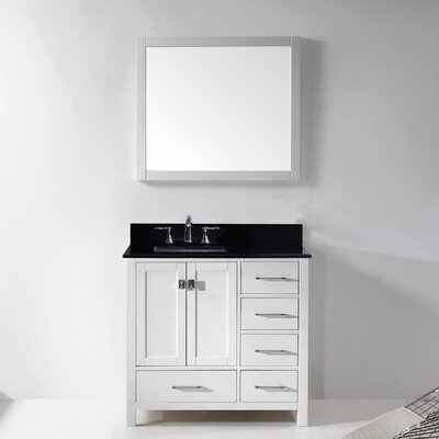 Stoneham 37 Single Bathroom Vanity Set with Black Galaxy Top and Mirror Base Finish: White, Sink Shape: Square