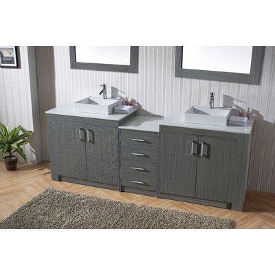 Glen Ridge 93 Double Bathroom Vanity Set with White Top and Mirror Base Finish: Zebra Gray