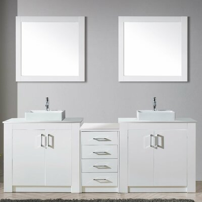 Glen Ridge 93 Double Bathroom Vanity Set with White Top and Mirror Base Finish: Gloss White