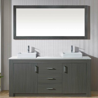 Glen Ridge 60 Double Bathroom Vanity Set with White Top and Mirror Base Finish: Gray