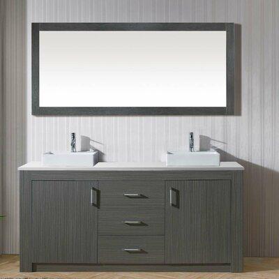 Glen Ridge 72 Double Bathroom Vanity Set with White Top and Mirror Base Finish: Zebra Gray
