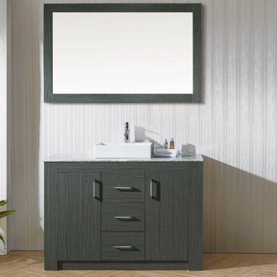 Glen Ridge 48 Single Bathroom Vanity Set with White Top and Mirror Base Finish: Zebra Gray