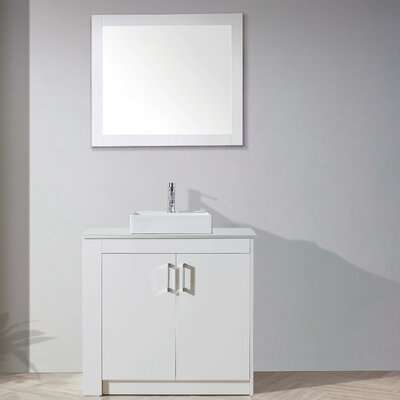 Glen Ridge 36 Single Bathroom Vanity Set with White Top and Mirror Base Finish: Gloss White, Orientation: Left