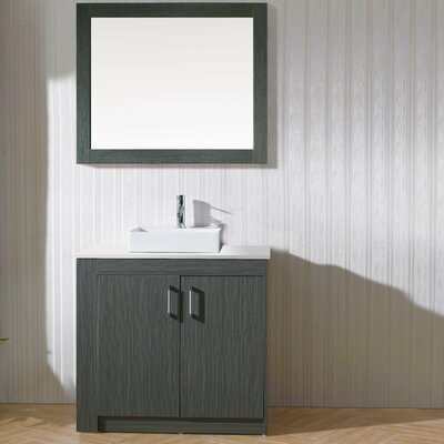 Glen Ridge 36 Single Bathroom Vanity Set with White Top and Mirror Base Finish: Zebra Gray, Orientation: Left