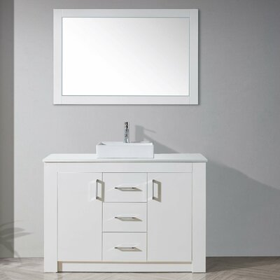 Glen Ridge 48 Single Bathroom Vanity Set with White Top and Mirror Base Finish: Gloss White
