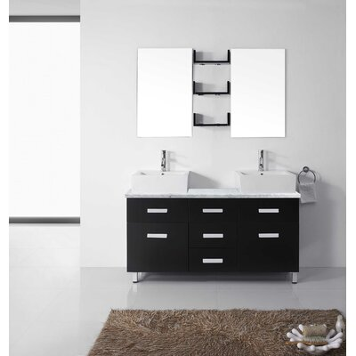 Ultra Modern Series 56 Double Bathroom Vanity Set with White Marble Top and Mirror Base Finish: Espresso