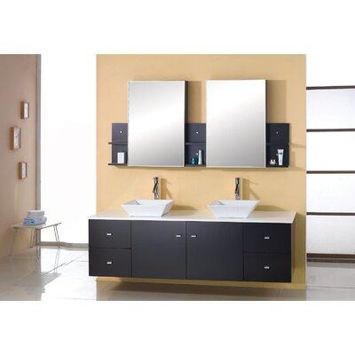 Ultra modern clarissa 61 double bathroom vanity set in espresso vanity top stone top oak for Ultra bathroom vanities burbank