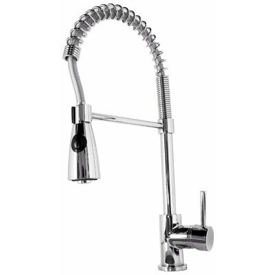 Neso Single Handle Single Hole Kitchen Faucet with Pull-Down Spray Finish: Brushed Nickel