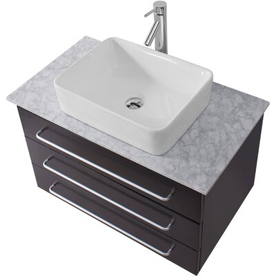 Ultra Modern Series 33 Single Bathroom Vanity Set with White Marble Top and Mirror Base Finish: White, Faucet Finish: Brushed Nickel