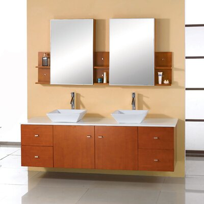 Double Bathroom Vanity on Virtu Ultra Modern Clarissa 61  Double Bathroom Vanity Set With Stone