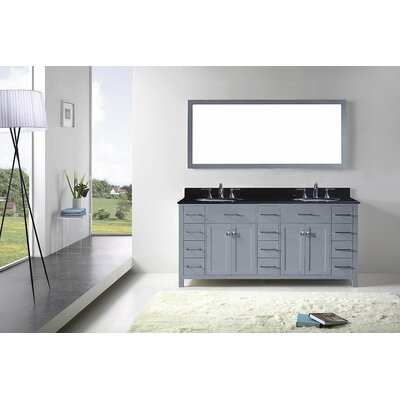 Stoughton 72 Double Bathroom Vanity Set with Black Galaxy Top and Mirror Sink Shape: Round, Base Finish: Gray
