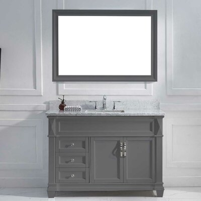 Victoria 49 Single Bathroom Vanity Set with White Marble Top and Mirror Base Finish: Gray, Sink Shape: Square, Faucet Finish: Polished Chrome