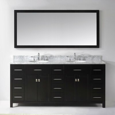 Espen 72.8 Double Bathroom Vanity Set with Carrara White Top and Mirror Base Finish: White, Sink Shape: Round, Faucet Finish: Brushed Nickel