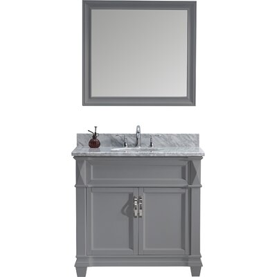 Victoria 37 Single Bathroom Vanity Set with White Marble Top and Mirror Sink Shape: Square, Faucet Finish: Brushed Nickel, Base Finish: Gray