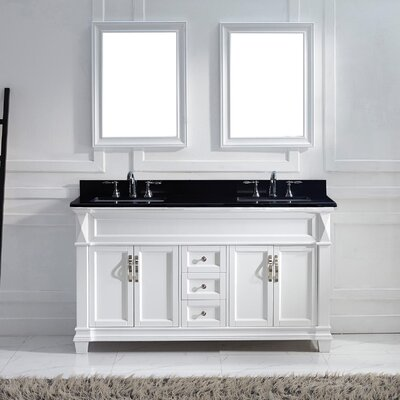 Victoria 61 Double Bathroom Vanity Set with Black Galaxy Top and Mirror Base Finish: White, Sink Shape: Round