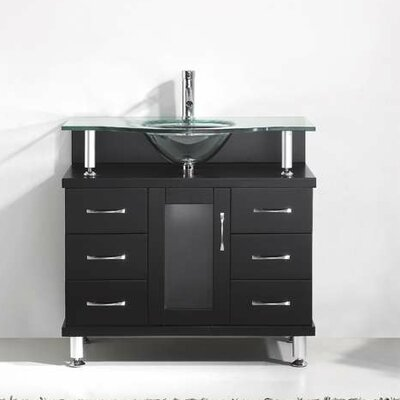 Vincente Series 36 Single Bathroom Vanity Set with Tempered Glass Top Base Finish: Espresso