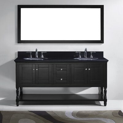 Julianna 73 Double Bathroom Vanity Set with Black Galaxy Top and Mirror Base Finish: Gray, Sink Shape: Square