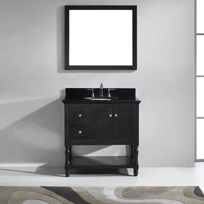 Julianna 37 Single Bathroom Vanity Set with Black Galaxy Top and Mirror Base Finish: Espresso, Sink Shape: Square