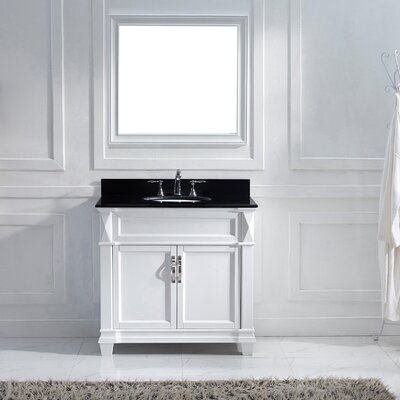Victoria 37 Single Bathroom Vanity Set with Black Galaxy Top and Mirror Base Finish: White, Sink Shape: Round