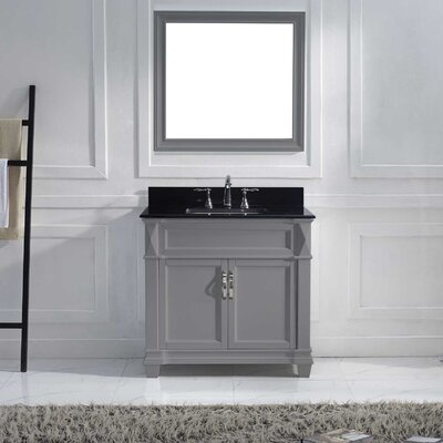 Victoria 37 Single Bathroom Vanity Set with Black Galaxy Top and Mirror Base Finish: Gray, Sink Shape: Square