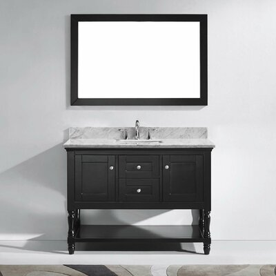 Julianna 49 Single Bathroom Vanity Set with White Marble Top and Mirror Base Finish: Gray, Sink Shape: Round, Faucet Finish: No Faucet